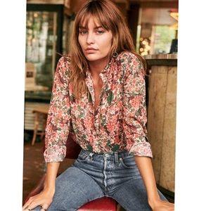 Sezane floral print pierro shirt